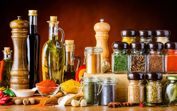 Wallpaper Different kinds of spices, seasoning, oil