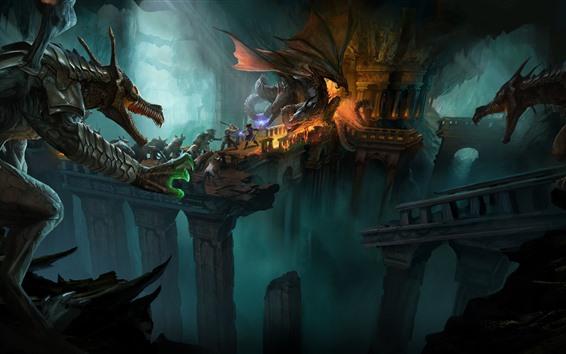 Wallpaper Dragons, battle, art picture