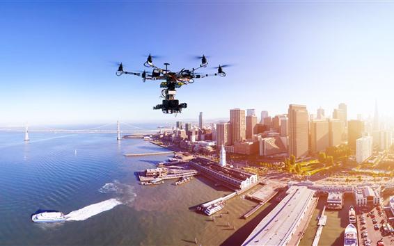 Fondos de pantalla Drone, ciudad, vista superior, rascacielos, mar, puente