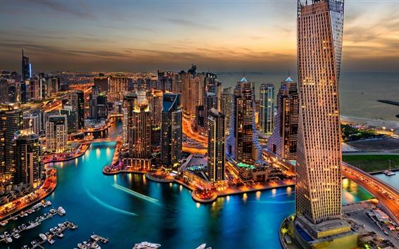 Fond d'écran Dubaï, paysage urbain de nuit, gratte-ciels, lumières, rivière, bateaux