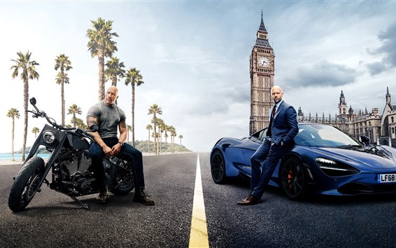Wallpaper Dwayne Johnson, Jason Statham, Fast and Furious 8