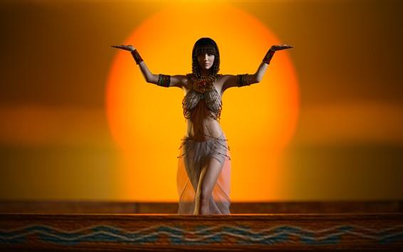 Papéis de Parede Menina do Egito, pose, decoração