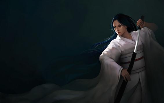 壁紙 ファンタジー日本の女の子、青い髪、剣