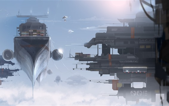 Wallpaper Fantasy, futuristic, spaceship, dock