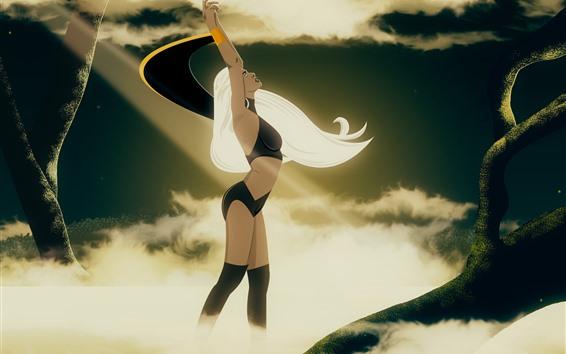 Wallpaper Fantasy girl, dance, white hair, mist