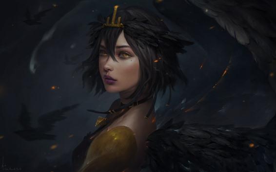 壁紙 ファンタジーの女の子、翼、黄色の目