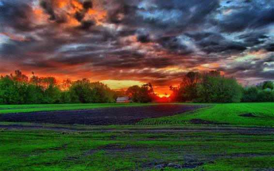 Wallpaper Farmland, fields, trees, hut, clouds, sunset