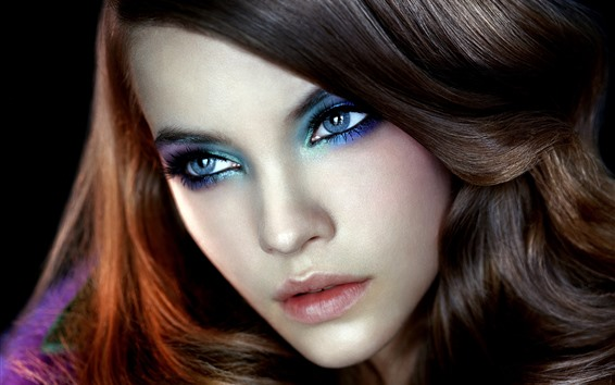 Fondos de pantalla Chica de moda, maquillaje, rostro, ojos, peinado.