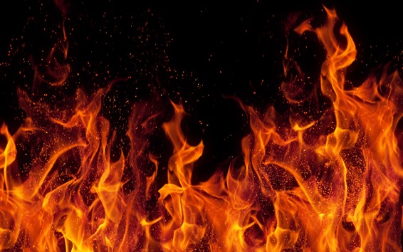 Fondos de pantalla Fuego, llama, chispas, fondo negro.