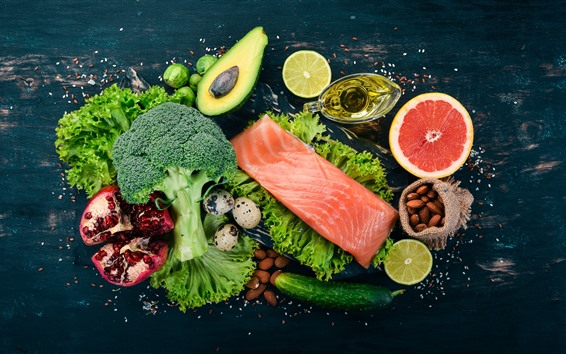 Wallpaper Fish meat, broccoli, cucumber, oil, eggs, nuts, vegetables