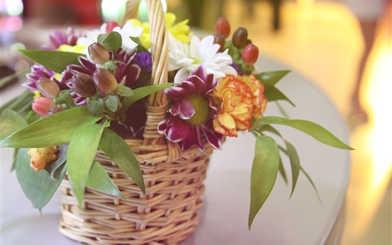 Wallpaper Flowers, bouquet, basket, hazy