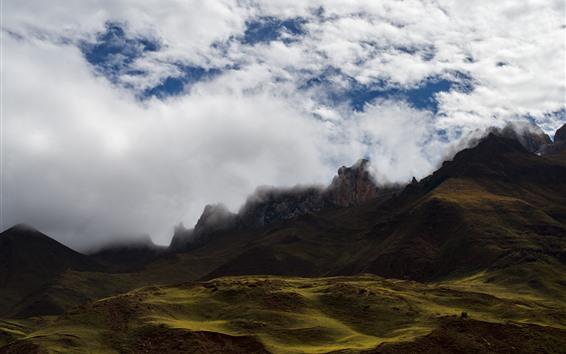壁紙 霧、雲、山、自然の風景、チベット、中国