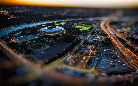 Fond d'écran Stade de football, Luzhniki, Russie, ville, lumières, nuit