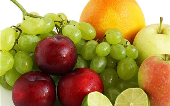 Fondos de pantalla Fruta, uva, ciruela, manzana, limón, naranja.
