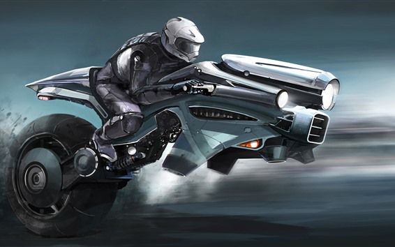 Wallpaper Futuristic motorcycle, art picture