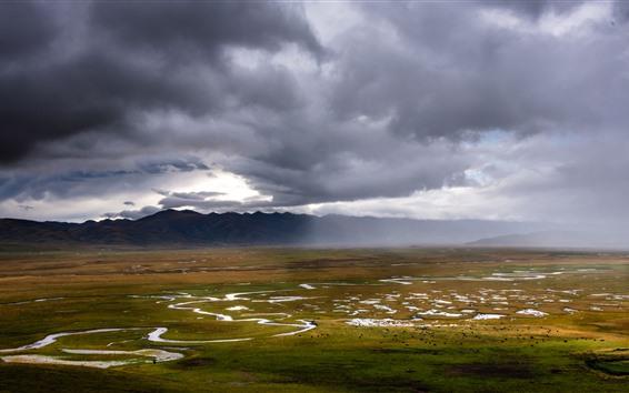 Papéis de Parede Pântano de Gannan Awancang, montanhas, nuvens, paisagem bonita da natureza, China