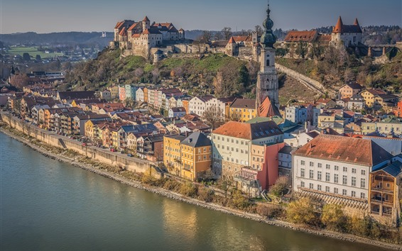 Wallpaper Germany, Bayern, Salzach River, Burghausen, city