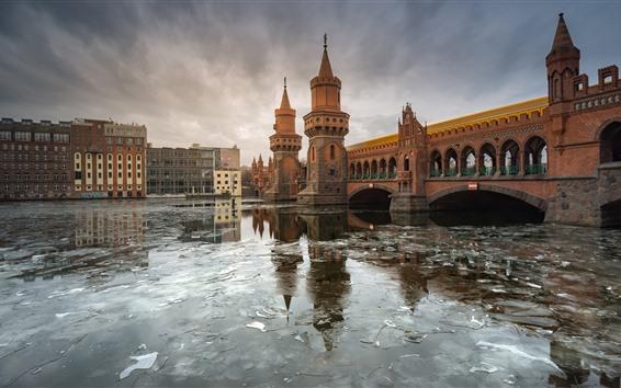 Wallpaper Germany, Berlin, river, bridge, city, ice, winter
