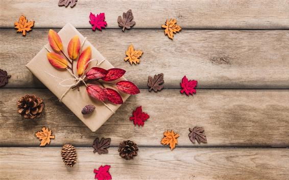 Papéis de Parede Presente, folhas, placa de madeira