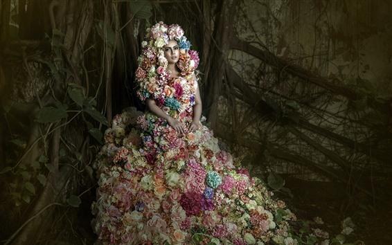 Wallpaper Girl, flowers dress, art photography