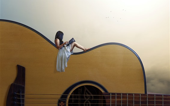 Wallpaper Girl, huge guitar, creative picture