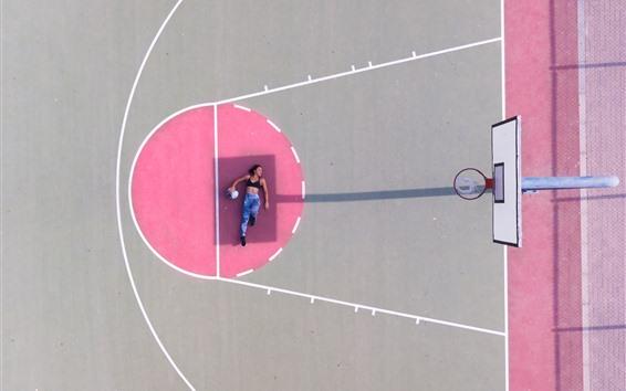 Wallpaper Girl, pose, playground, basketball, shadow
