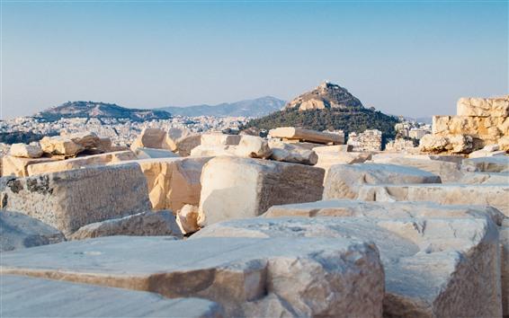 Wallpaper Greece, Mount Lycabettus, city, rocks