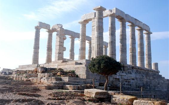 Wallpaper Greece, palace, ruins, stone pillars