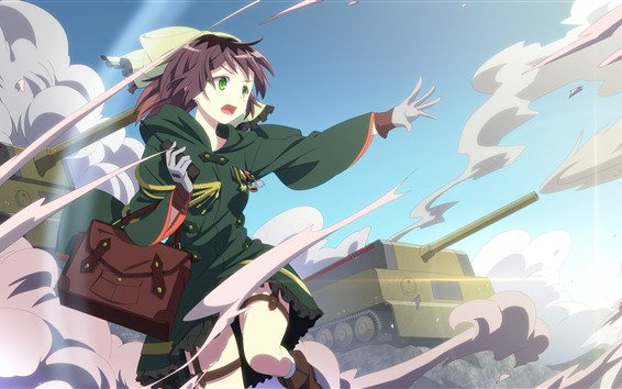 Wallpaper Green eyes anime girl, tank, war