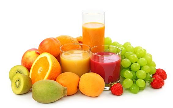 Fondos de pantalla Uvas verdes, naranja, kiwi, fresa, jugo, fruta, fondo blanco