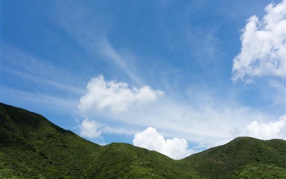 Fondos de pantalla Colina verde, cielo azul, nubes blancas.