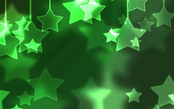 Fondos de pantalla Estrellas verdes, brillo, imagen creativa