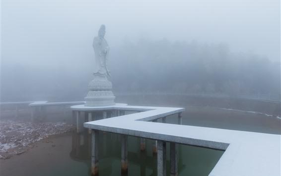 Papéis de Parede Guanyin, estátua, nevoeiro