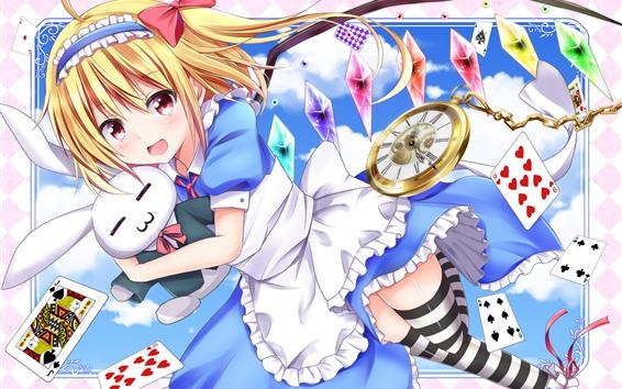 Papéis de Parede Feliz anime menina e coelho