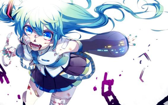 Wallpaper Hatsune Miku, blue eyes girl, injured