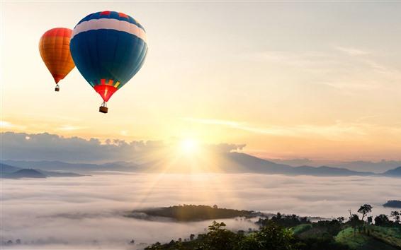 Papéis de Parede Balão de ar quente, nascer do sol, céu, névoa, manhã