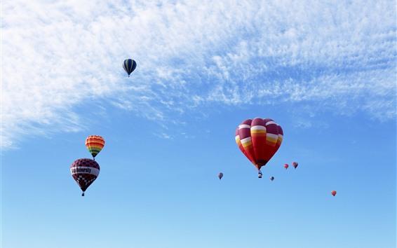 Fondos de pantalla Globos de aire caliente, colorido, vuelo, cielo azul, nubes