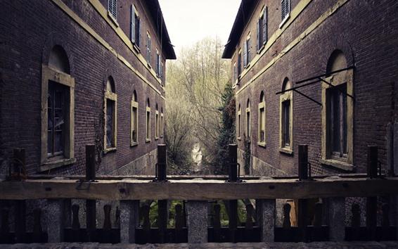 Papéis de Parede Casas, árvores, cerca