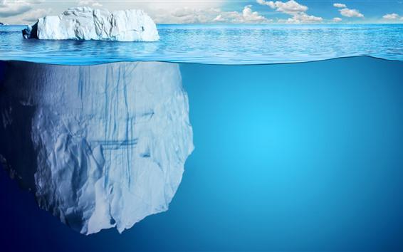 Fond d'écran Icebergs, mer bleue, sous-marine