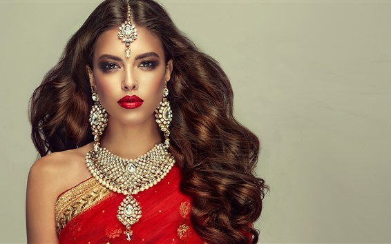 Wallpaper Indian girl, fashion, hairstyle, necklace, earring
