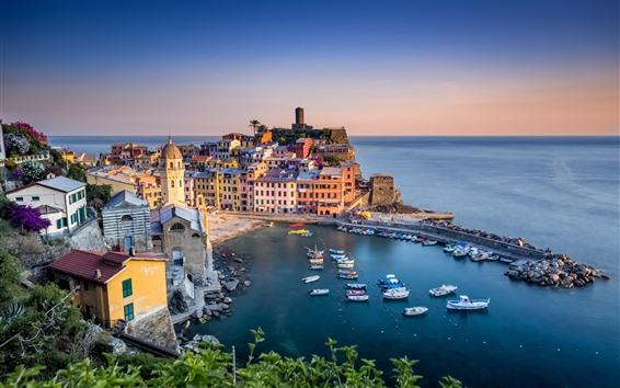 Papéis de Parede Itália, mar da Ligúria, Vernazza, porto, casas, bonita aldeia