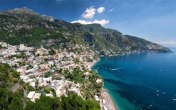 Papéis de Parede Itália, Positano, cidade, casas, mar, montanhas