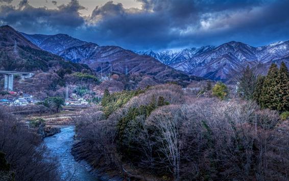 Wallpaper Japan, mountains, trees, village, river