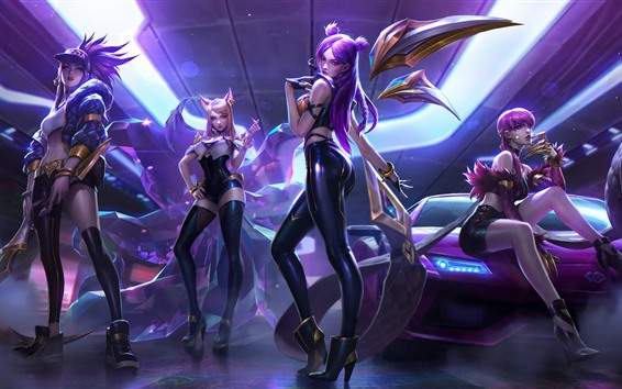 Wallpaper League of Legend, four beautiful girls