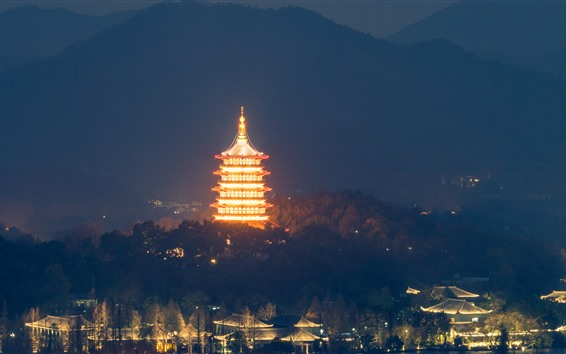 Papéis de Parede Leifeng pagode, Hangzhou, parque, noite, iluminação, China