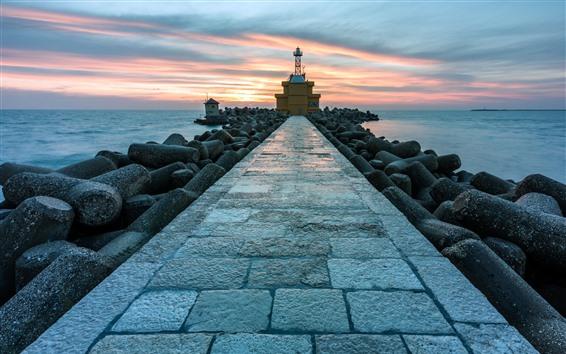 Papéis de Parede Farol, caminho, rochas, mar