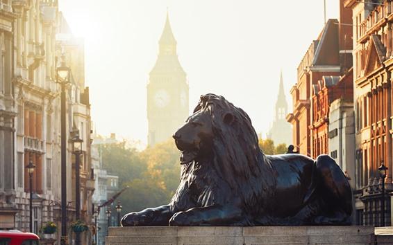 Papéis de Parede Estátua do leão, Londres, Inglaterra