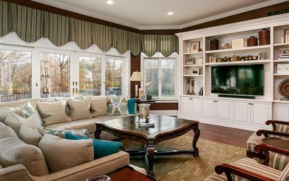 Fondos de pantalla Sala de estar, cortinas, ventana, sofá, mesa.