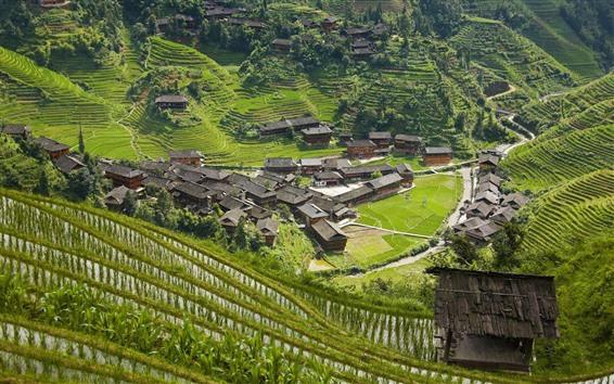 Papéis de Parede Longsheng, Guangxi, China, vila, montes, terraço do arroz