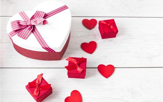 Papéis de Parede Coração do amor, caixa, presente, placa de madeira